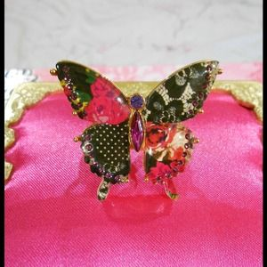 Betsey Johnson patchwork butterfly ring size 7