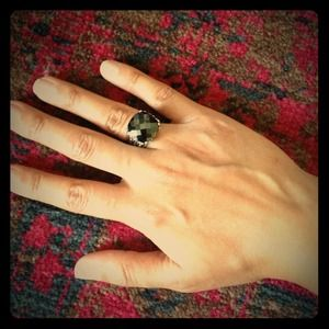 Jewelry - Black stone silver Victorian vintage ring NEW sz 7