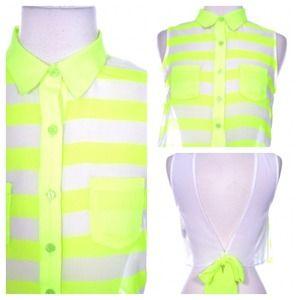 Neon Stripe Crop Top - Green