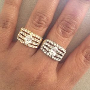 Jewelry - Faux 4 Pave Band Solitaire Cocktail Ring