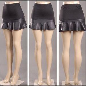 Black Leatherette Mini-Skirt
