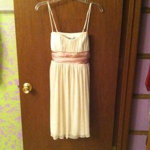 Dresses & Skirts - Ivory spaghetti strap dress- gold band tieback