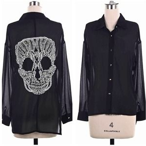 Black Sheer Skull Blouse