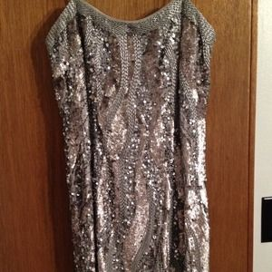 Adrianna Papell silver sequin beaded dress
