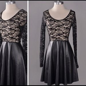 Black Leather and Lace Skater Dress