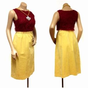 Vintage Retro high waist Yellow suede skirt