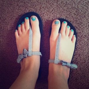 Hollister Blue and White Striped Bow Sandals