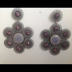 Jewelry - flower filigree earrings purple rhinestone REDUCED