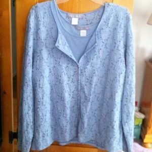 31% off Susan Graver Tops - NNW blue lace shell w light blue under ...
