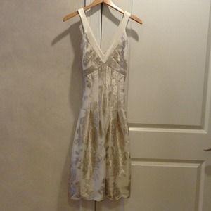kay unger silver metallic flower dress