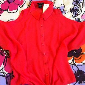 Coral orange sheer blouse