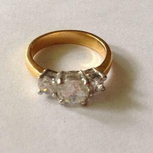3 stone faux diamond ring