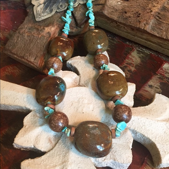 Jewelry - 🌟Reduced🌟Turquoise and brown  statement necklace