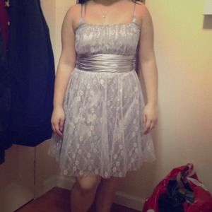 Gray dress with floral designs and silver sparkles
