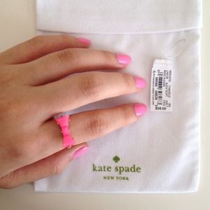 kate spade Jewelry - Kate spade neon pink bow ring