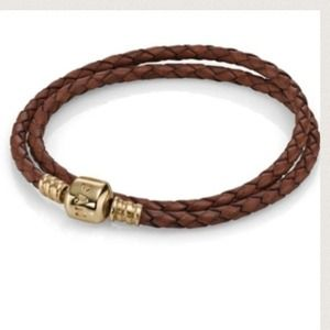 Pandora double wrap. 14k clasp & brown leather.