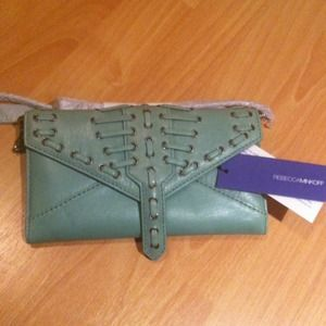 Rebecca Minkoff woven wallet on a chain Jade NWT