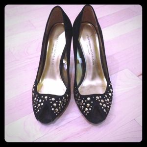 DONATED - Black suede studded pumps.
