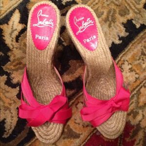 Christian Louboutin Red Ribbon Espadrille Heels 39