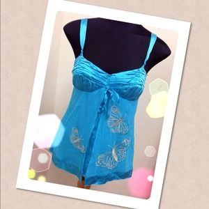 Bebe turquoise butterfly print top
