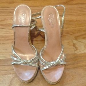 Gold wedge ankle strap sandals