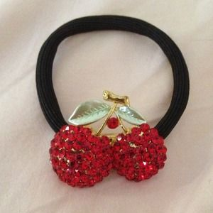 Cherry crystal hair tie