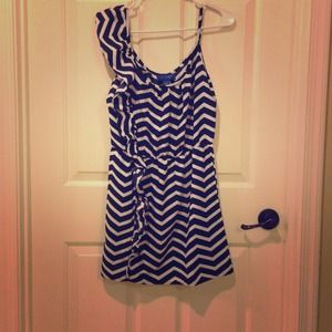 Striped navy and blue dress