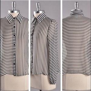 Black and White Stripe Chiffon Blouse