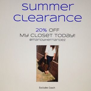 Summer Sale, 20% off my closet today!