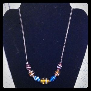 Multicolor beaded and chain necklace
