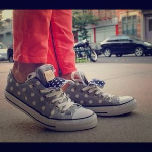 Converse Shoes - Converse All Star Gray/White Polka Dot