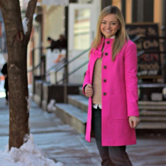 J. Crew - SOLD - J.Crew Pink Wool Cashmere Bow Coat from Jessica's ...