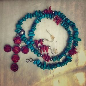 Handmade Turquoise & coral necklace and earrings