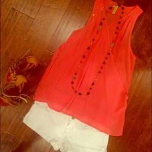 Tops - Salmon pink see through blouse
