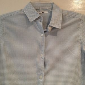 Uniqlo Gingham 3/4 Sleeve Button Down Shirt