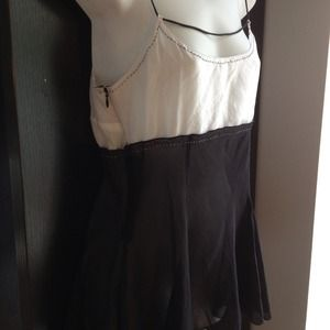 NWT French silk & chiffon sheer black/white top