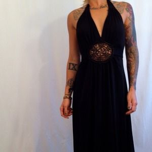 70s summer halter floor length dress lace cut out