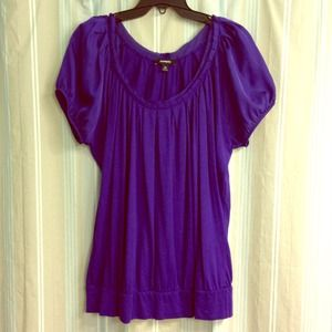 🔴 SOLD 🔴 Express purple satin sleeved tee