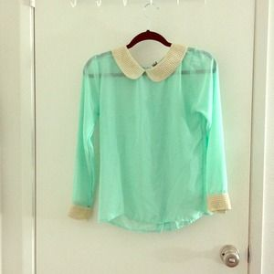 Poof Couture Tops - Mint studded collar & cuffs chiffon blouse - Used