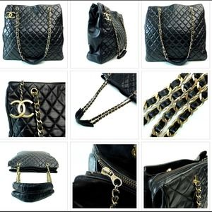 CHANEL Lambskin Quilted Chain Tote