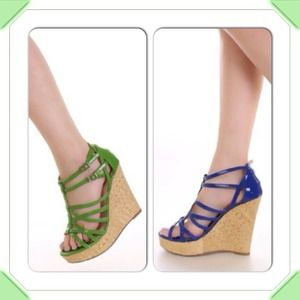 S O L D Strappy wedges (blue, white and Green)