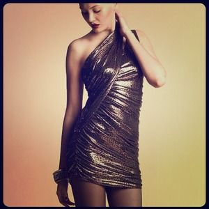 BEBE FASHION SHINY GOLD BROWN LEAPORD DRESS