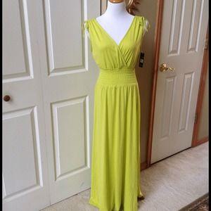 Lime Green Maxi V Neck Dress