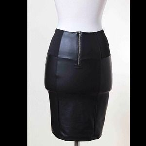 Black Pencil Leatherette Skirt