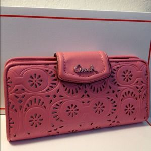 COACH SILVER/ROSE ASHLEY LACE LEATHER SLIM WALLET