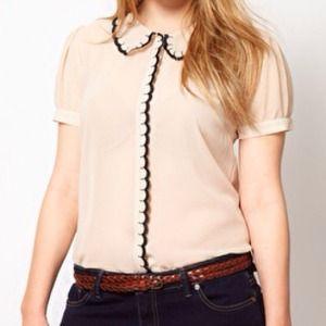 Tops - Cream scallop collar blouse