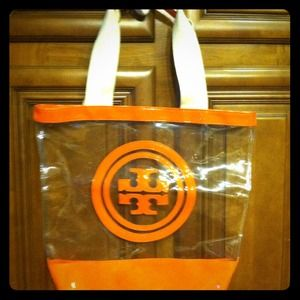 Tory Burch clear and orange tote