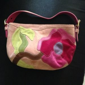 Authentic Coach Pink Flowered Suede Purse