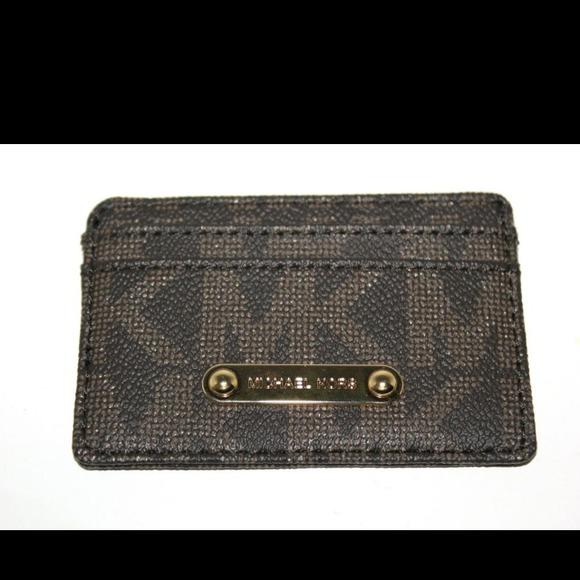6b75a27b5fc3 Michael Kors Brown Authentic Card case wallet