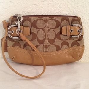 Authentic brown coach wristlet
